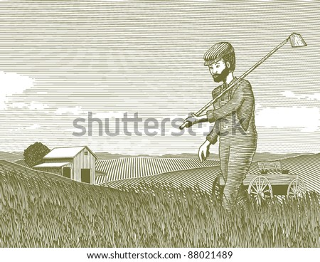 Woodcut style illustration of a farmer walking through his field with a hoe.