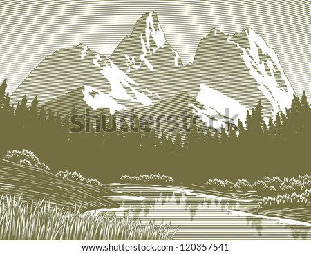 woodcut style illustration of a ...