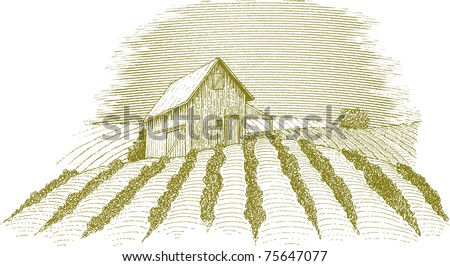 Woodcut style illustration of a rural farm scene.
