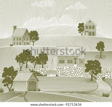 Woodcut style illustration of a rural village scene.