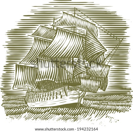 woodcut style illustration of a