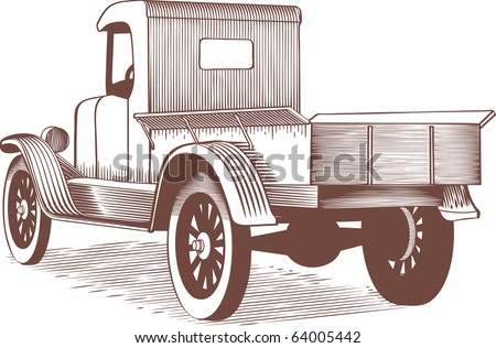 Woodcut style illustration of an old farm truck.