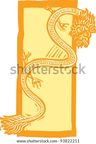 Woodcut style image of a Chinese dragon for the new year.
