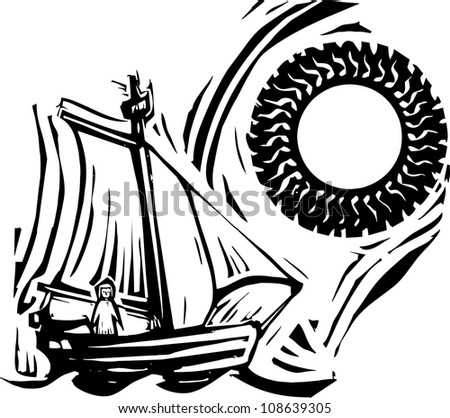 Woodcut style image of a girl in a sailing boat under a sun. - stock vector