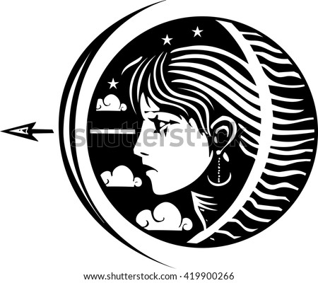 woodcut style image of a girl