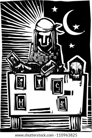Woodcut style image of a gypsy giving a tarot reading.