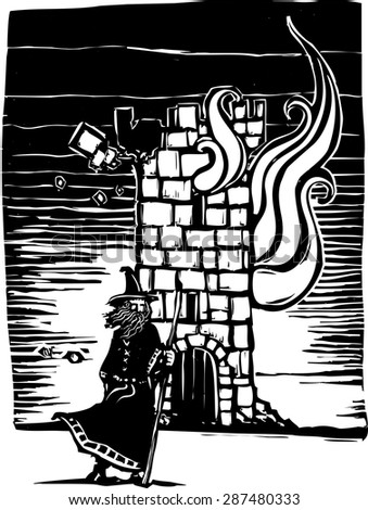 woodcut style image of a wizard