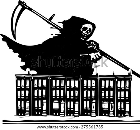 woodcut style image of death