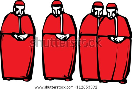 Woodcut style image of four Catholic Cardinals.