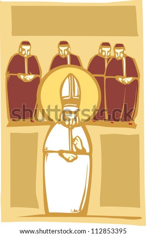 Woodcut style image of the Catholic Pope with Church Cardinals.