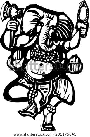 Woodcut style image of the Hindu God Ganesha