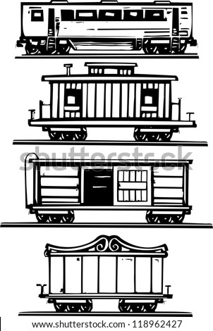 Woodcut style images of railroad passenger, circus, boxcars and caboose. - stock vector