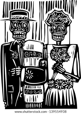 woodcut style mexican day of