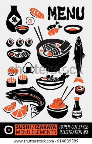 Woodcut style of Japanese culture and Japanese food elements 3