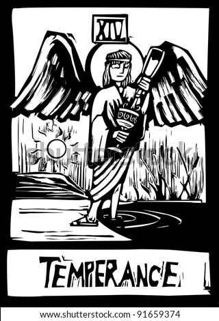 Woodcut style Tarot card for the image of Temperance