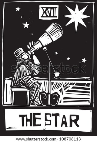Woodcut style Tarot card for the Star.
