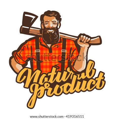 woodcutter, lumberjack vector logo. joiner or carpenter icon