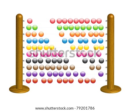 Wooden abacus with shining glass beads - vector illustration