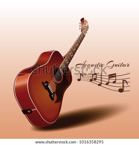 wooden acoustic guitar and