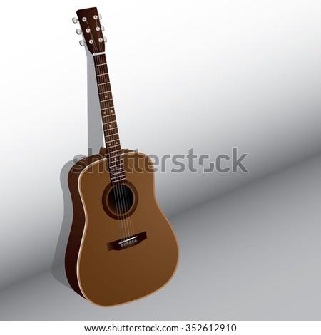 wooden acoustic guitar lean