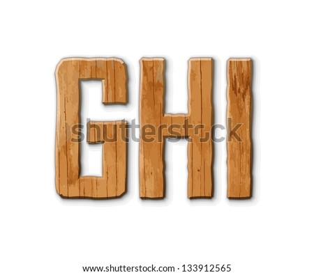Wooden alphabet on a white background