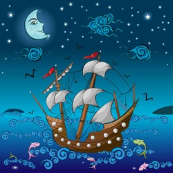 Wooden ancient ship floating in night... Drawn in miniature style which was an art form of ottoman empire.