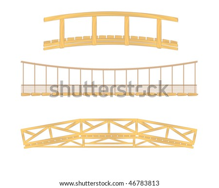 wooden and hanging bridge