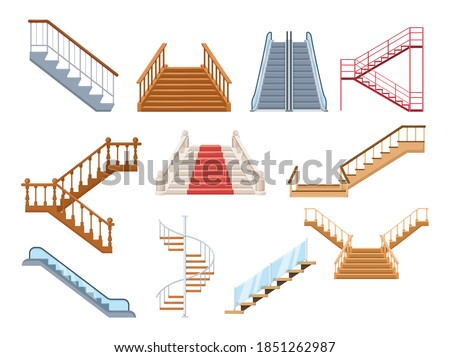 Wooden and metal staircase with handrails set. Wooden staircases covered with red carpet, spiral staircase, store escalator, floor to floor ladder isolated cartoon vector Сток-фото ©