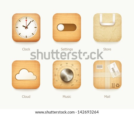 wooden and paper icons app set. eps10 vector illustration