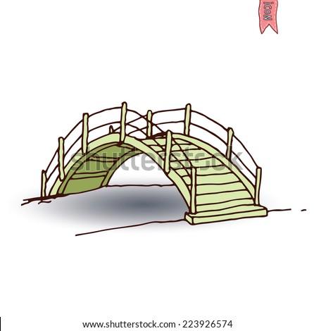 wooden arch bridge  vector