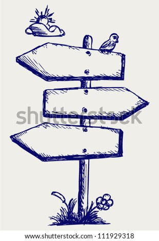 Wooden arrow board. Doodle style