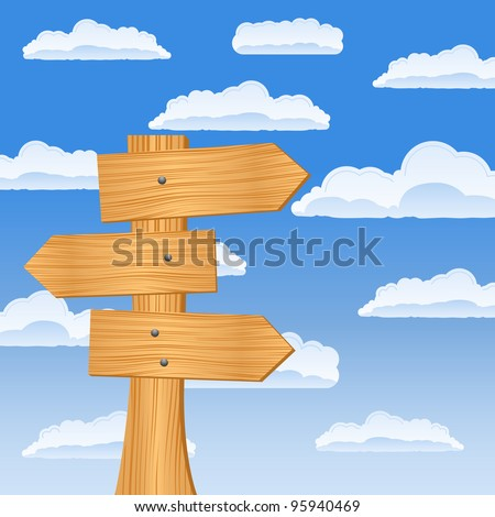 Wooden arrow sign on the sky background, vector illustration #95940469