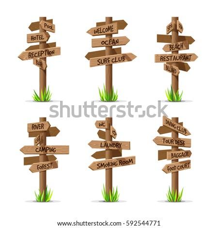 wooden arrow signboards resort