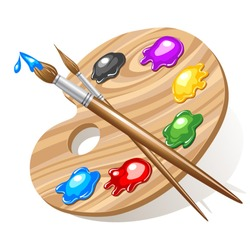 Wooden art palette with paints and brushes