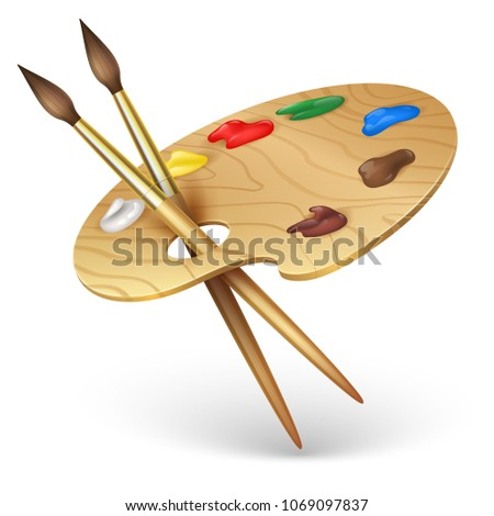 Wooden artist palette with paint brushes vector illustration isolated on white background. Wooden,brush and colored palette, painter tools illustration