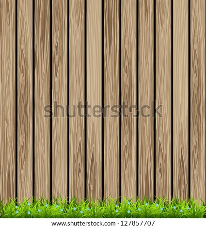wooden background and grass....
