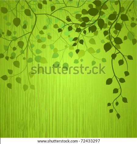 Wooden background with branches and leaves (no transparencies).