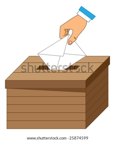 Wooden ballot box with a vote letter.