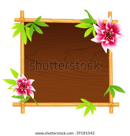 Wooden bamboo frame,  vector illustration, EPS file included