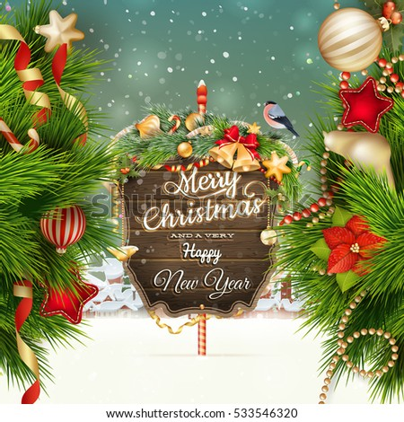 Wooden banner with Christmas Fir-tree branches. EPS 10 vector file included #533546320