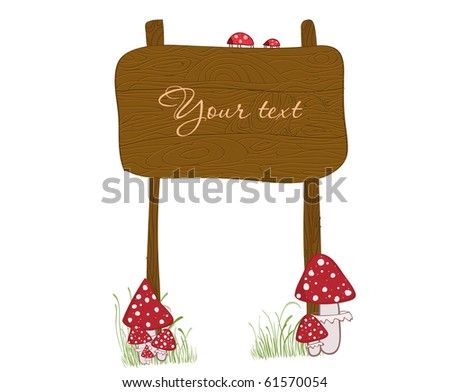 Wooden Banner with mushrooms
