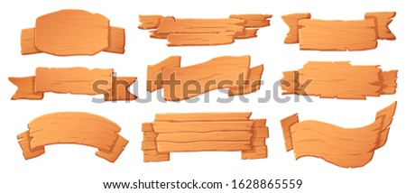 Wooden banners. Wood boards, banner board and cartoon signboard vector set for game. road information signs, wild west saloon isolated signboards