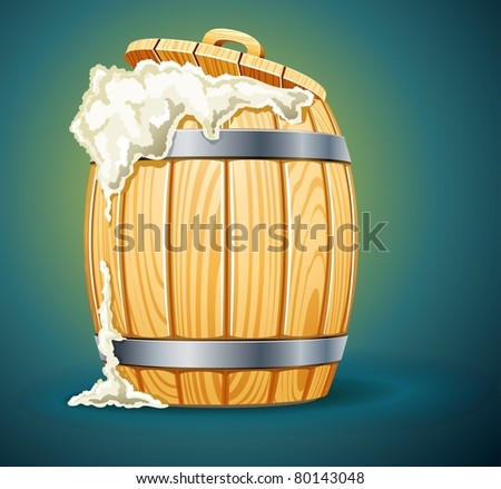 wooden barrel full of beer with foam vector illustration isolated on white background - stock vector