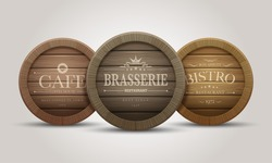 Wooden barrel signboards for cafe, restaurant, bistro, brasserie, beer, wine or whiskey. Vector illustration.