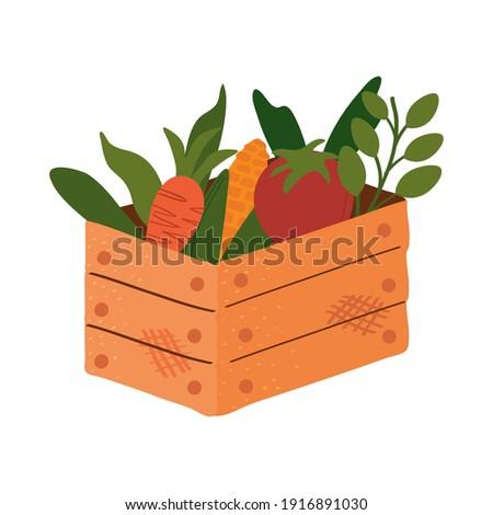 wooden basket with vegetables farm icon vector illustration design