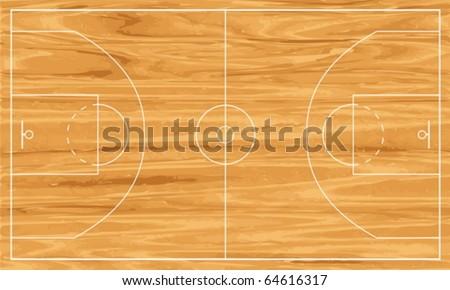 Wooden basketball court. Vector illustration