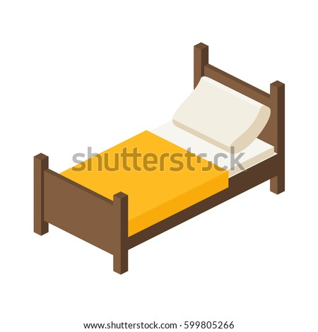 wooden bed for one person with...