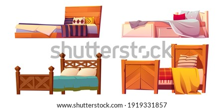 Wooden beds with blanket and pillows isolated on white background. Vector cartoon set of single and double beds, vintage wood furniture for sleep with colored linen, duvet and cushions