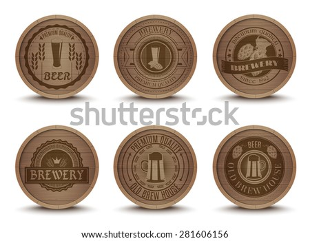 wooden beer house emblems retro ...