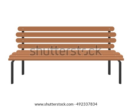 Wooden bench isolated on white background. Park brown vector bench in flat style